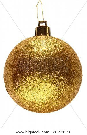 Gold glitter Christmas bauble ball.