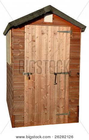Wooden garden tool shed isolated on white.