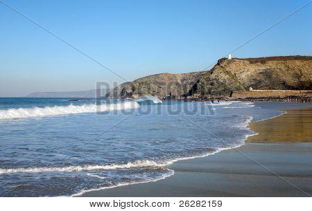 Waves breaking on Portreath beach, Cornwall UK.