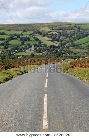 Country road to Widdecombe in the Moor, Dartmoor England.