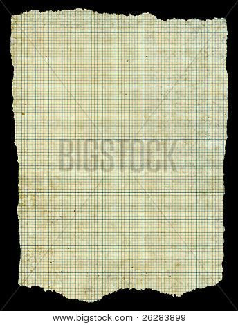 Old torn stained dirty graph paper isolated black background.