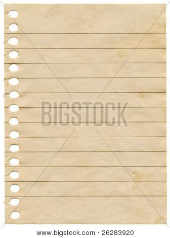 Old dirty stained blank notepaper page isolated on a white background.