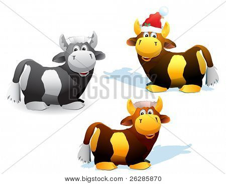 set of bulls and cows, one of them in santa hat