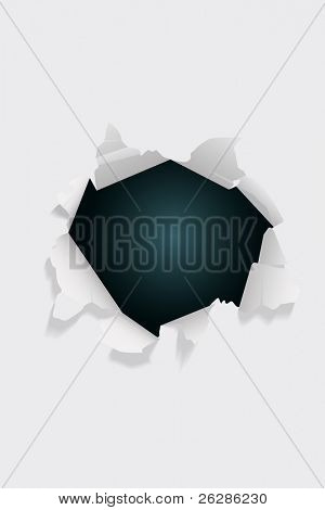 vector dark hole on white paper