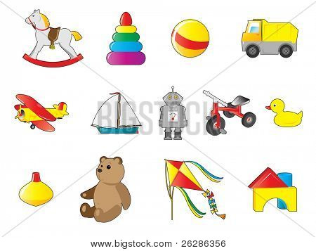 colorful icons of toys