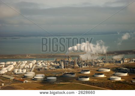 Aerial View Of Liquid Storage Tanks