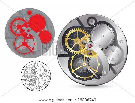 Analog clock mechanism. Realistic, plain and outline vector image.