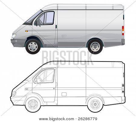 detailed vector cargo minibus isolated on white background with technical drawing