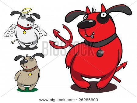 set of funny vector dogs