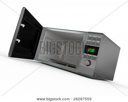 Open metallic microwave on white background. 3d