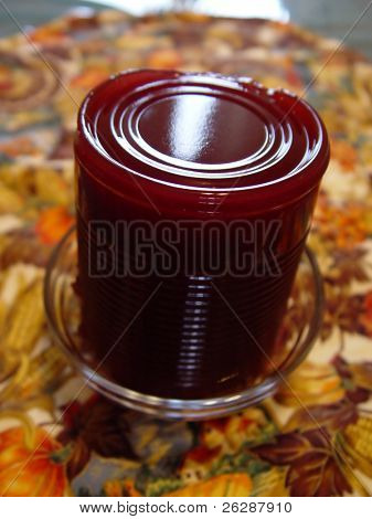 Thanksgiving Cranberry sauce on the table
