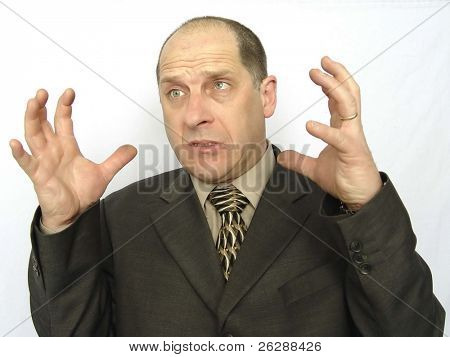 Angry Businessman isolated on white background