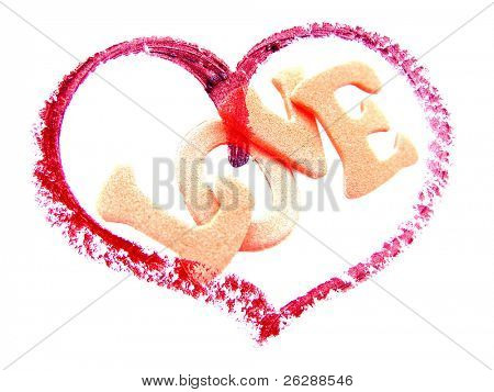 Heart with the word love Isolated on white background, overexposed