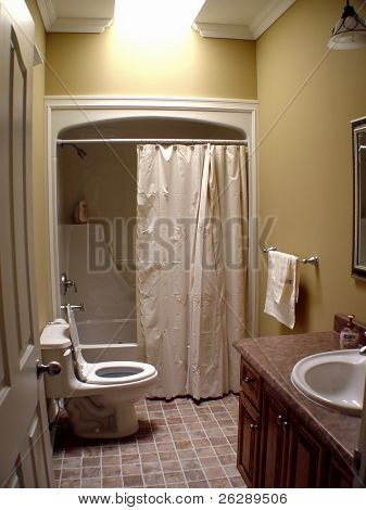 Interior of small bathroom