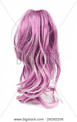 Wig of long pink  hair isolated on white