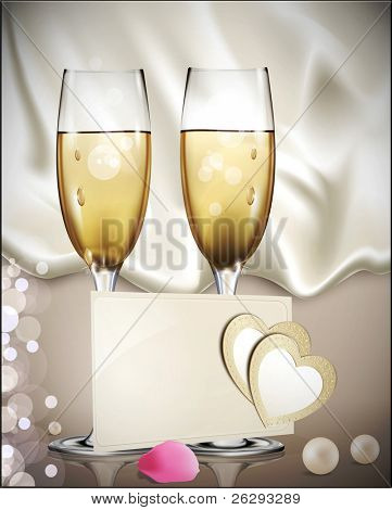 congratulatory background with a beige card with two glasses of white wine, rose petals, pearls, and two hearts