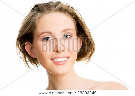 Portrait of a beautiful young woman on white background