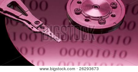 Open hard disk with binary code reflection