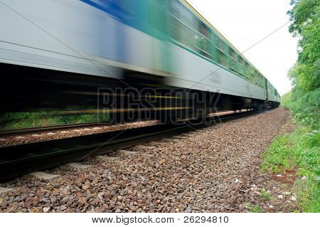 Fast train passing by with motion blur