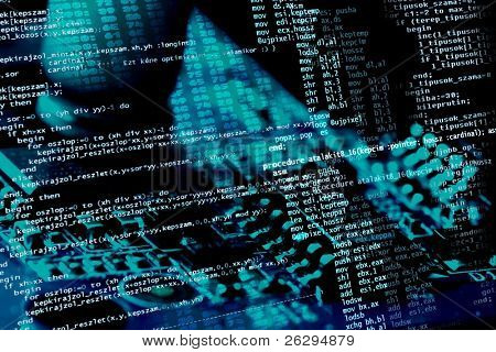 Computer programing source code on blue electronics background