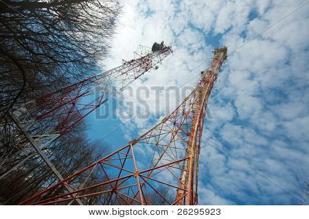 Old tall transmitter tower structures