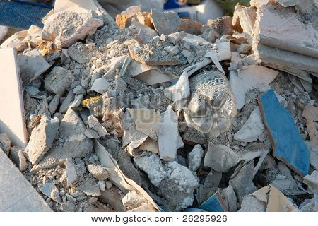 Debris and trash in a big pile