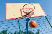 Street Basketball, Close-up Of Basketball Ring And Ball Flying Into The Basket. poster