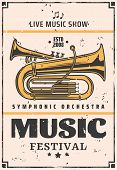 Music Festival Announcement, Symphonic Orchestra Or Jazz Night Or Live Music Show. Vector Vintage Mu poster