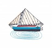 Doodle Drawing Of Elegant Ship, Sailing Boat Or Yacht With Sail In Ocean. Beautiful Sailboat In Sea  poster