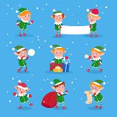 Christmas Elf. Baby Elves Santa Claus Helpers. Funny Winter Dwarf Vector Characters. Illustration Of poster