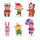 Kids Wearing Christmas Costumes. Cartoon Happy Children Greeting Christmas. Winter Holiday Vector Ch poster