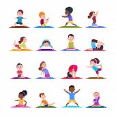 Children In Yoga Poses. Cartoon Fitness Kids In Yoga Asana. Vector Characters Isolated Set. Illustra poster