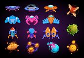 Cartoon Planets And Spaceships. Fantastic Rockets, Ufo And Alient Futuristic Planets. Space War Game poster