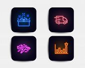 Neon Glow Lights. Set Of Truck Delivery, Present Box And Airplane Icons. Efficacy Sign. Express Serv poster
