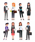 Business People Male And Female Formally Dressed Office Managers, Stylish Men And Women In Suits, Wi poster