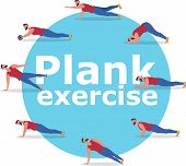 Fitness Man Doing Planking Exercise Banner. Planksgiving Challenge Banner. Athlete Standing In Plank poster
