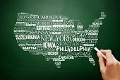 Usa Map Word Cloud With Most Important Cities On Blackboard poster