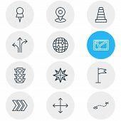 Vector Illustration Of 12 Navigation Icons Line Style. Editable Set Of Cone, Navigator, Navigation A poster