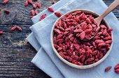 Superfood Goji Berries In Ceramic Bowl On Wooden Background. Wolfberry For Healthy Eating. Healthy S poster