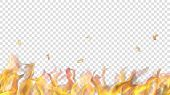 Translucent Fire Flame With Horizontal Seamless Repeat On Transparent Background. For Used On Light  poster