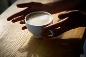 Barista Propose Americano Or Espresso Coffee Cup. Fresh Morning Coffee With Milk And Cream Froth. Go poster
