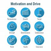 Persistence Icon Set - Image Of Extreme Motivation And Drive Set On Persevering poster