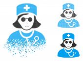 Blind Nurse Icon With Face In Disappearing, Pixelated Halftone And Undamaged Solid Variants. Cells A poster