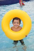 stock photo of swimming pool family  - Little boy in the pool - JPG