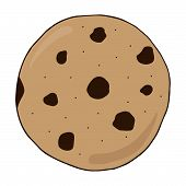 Chocolate Chip Cookie Vector Illustration Doodle Drawing. Sweet Cookie Hand Drawing. poster
