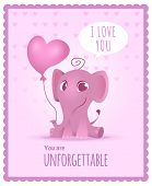 Baby Elephant Poster. Kids Invitation With Picture Of Cute And Funny Adorable Little African Elephan poster