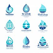 Water Logos. Aqua Water Drops And Splashes Silhouette Health Rain Spa Vector Symbols Isolated With P poster
