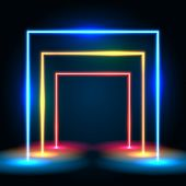 Neon Glowing Lines Tunnel Abstract Background. Square Portal Concept. Vector Illustration poster