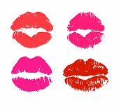 Glamour Lips Silhouettes Isolated On White Background. Bright Red And Pink Lipstick Kiss Prints Vect poster