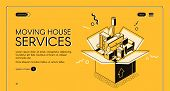 Moving House Services Vector Web Banner With Home Furniture In Cardboard Box Isometric Line Art Illu poster
